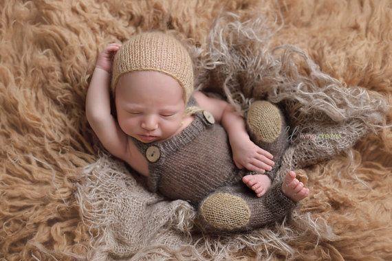 overalls and bonnet set newborn photo prop by LittleRaritiesStudio