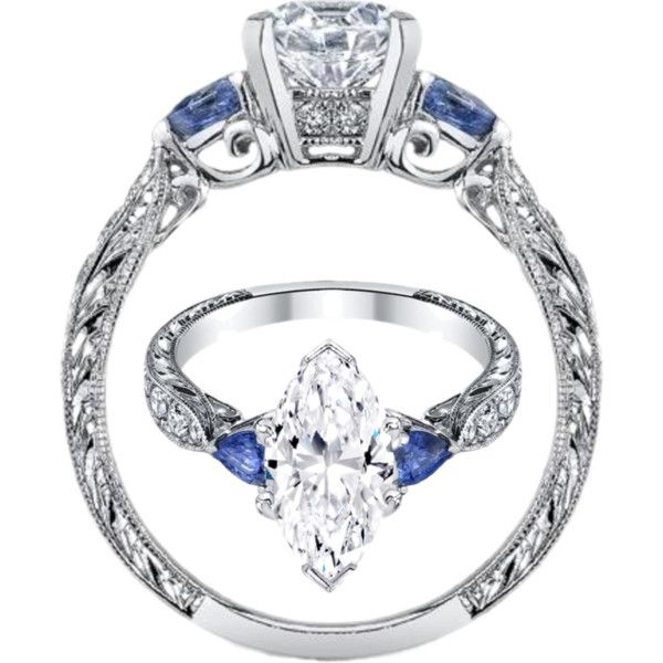 Marquise Diamond Engagement Ring Blue Sapphire Pear Side