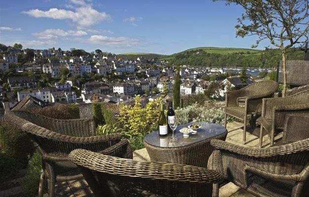 Lovely views over the town and along the river from the upper terrace