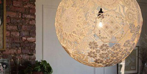 DIY Lace Chandelier Light!