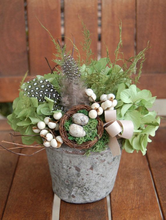 Nest Pot with Hydrangeas and Berries by myhydrangeahome on Etsy