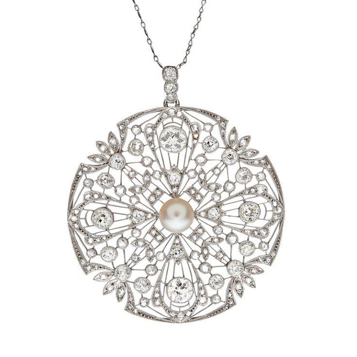 Art Deco Diamond And Pearl Filigree Platinum Large Pendant