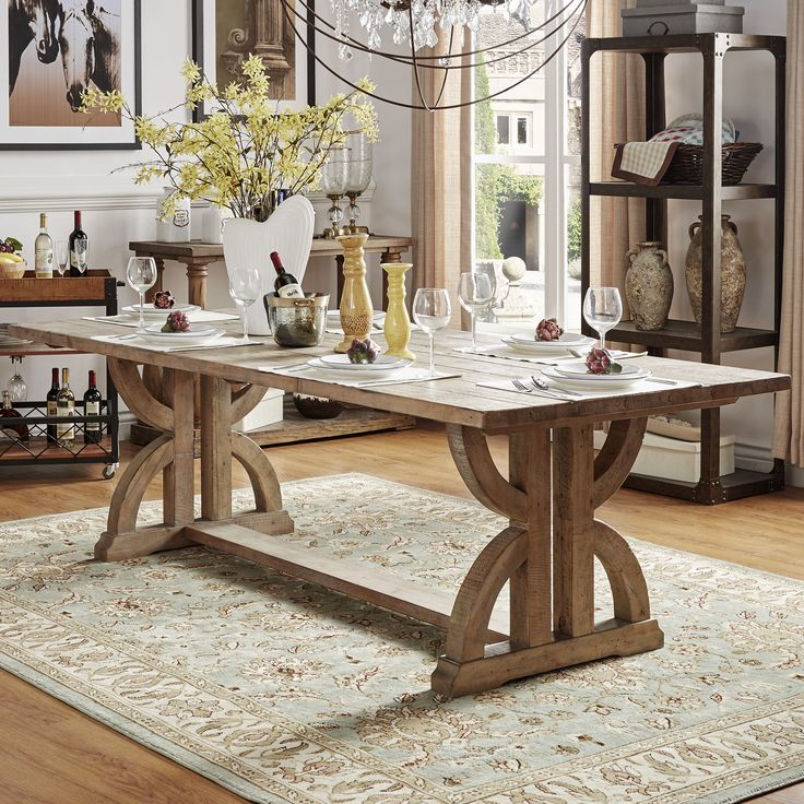 Dining Room Kitchen Tables: Paloma Salvaged Reclaimed Pine Wood Rectangular Trestle