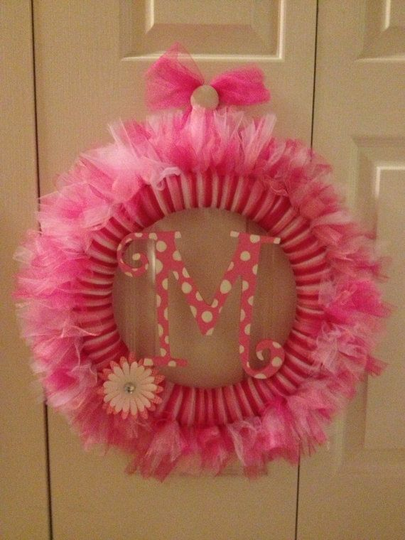 Whimsical Pink tulle wreath with personalized monogram in center- Birthday  wreath- Monogram birthday wreath- Baby Shower wreath gift. $45.00, via Etsy.