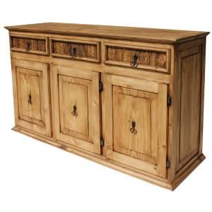 All this storage in a very affordable and lovely rustic credenza is too good to pass up! Three spacious cabinets and drawers provide you with extra space for any room.  With a lamp and family photos on top, it creates a focal point in your home.  This southwestern furniture is hand made of solid pine and it goes well with any decor.