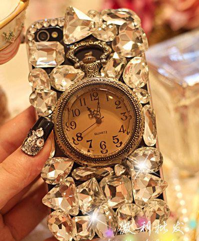 Vintage Gemstone Watch DIY phone case set  DIY cell phone case deco kit (Phone Case not Included). $19.50, via Etsy.