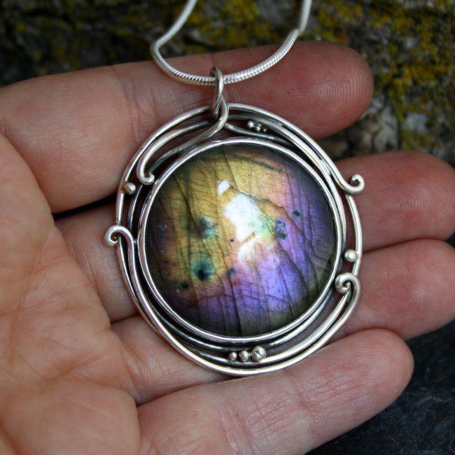 Labradorite and silver pendant.