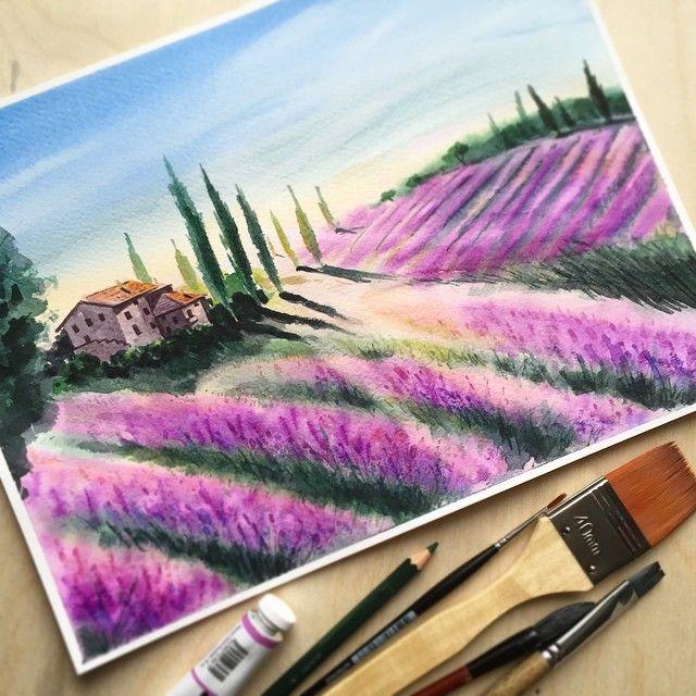 Тема пейзажей неожиданно оказалась мне очень близкой. Хочется дополнить её ещё полем лаванды. #акварель #watercolor #kalachevaschool #art #пейзаж