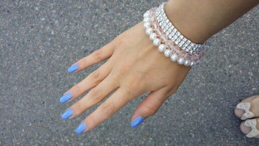 Blue nails and diamonds
