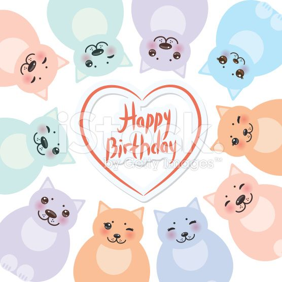 happy birthday card template, green blue pink orange cats royalty-free stock vector art