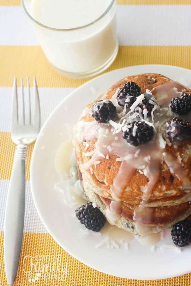 These Gluten Free Blackberry Pancakes are the best Ive had, fluffy and so yummy. And the Coconut Yogurt Syrup tastes just like the end they serve in Hawaii