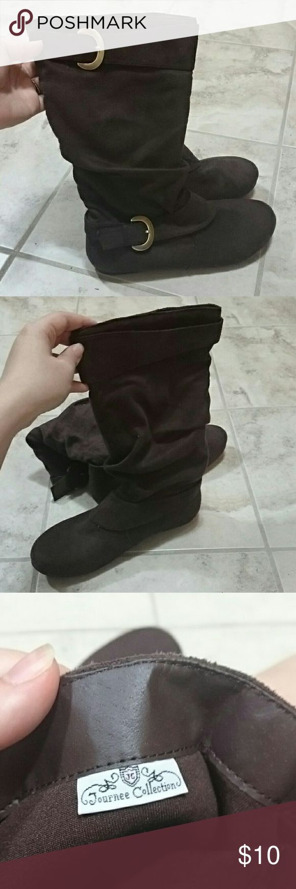 """New brown slouchy boot with gold buckles New without box brown slouchy boots. Brand is Journee Collection, purchased from Target. These boots have no internal structure and are made of a suede-type material. From the floor to the top of the boot they are about 13.5"""", though they would slouch lower than that on. Journee Collection Shoes"""