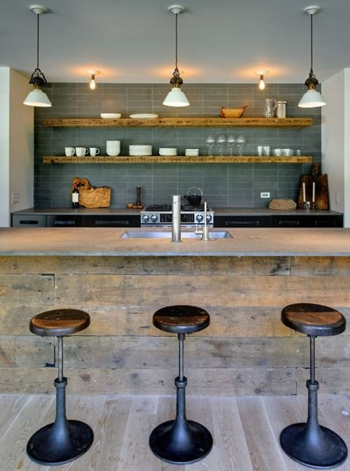 Kitchen wooden shelves and stools: Architects, Kitchens Design, Idea, Open Shelves, Modern Rustic, Rustic Kitchens, Basements Bar, Bar Stools, Modern Kitchens