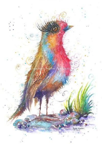 www.sixfootsophie.co.uk Sophie Appleton Painting print Robin birds watercolour Art