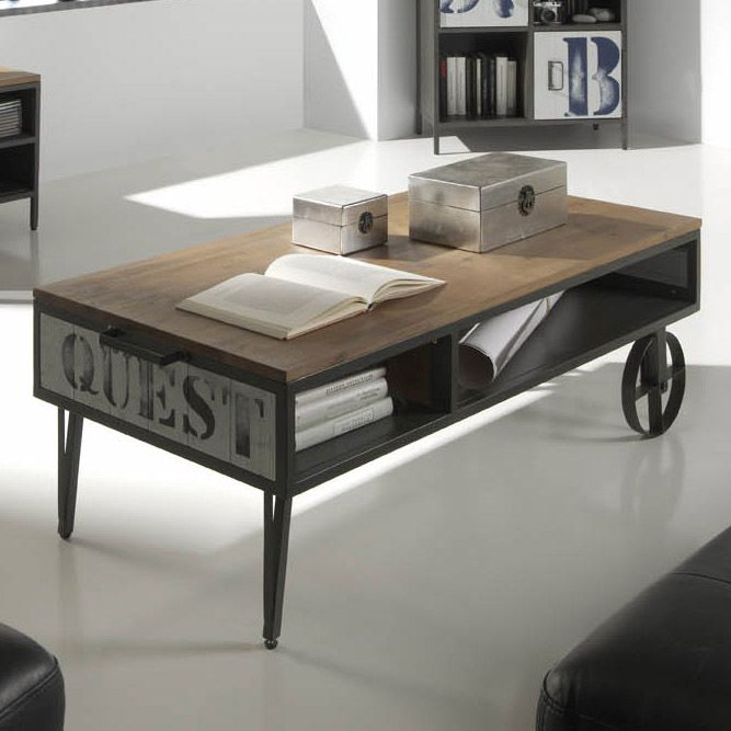 Table basse rectangle en m tal et bois d 39 acacia et de pin - Table bois metal industriel ...