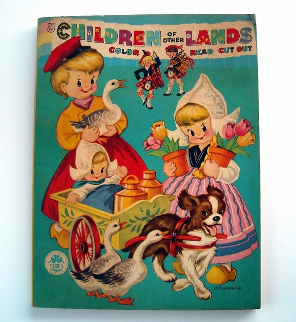 Vintage 1950s Coloring Book Children Of Other Lands Countries 1500 Via Etsy