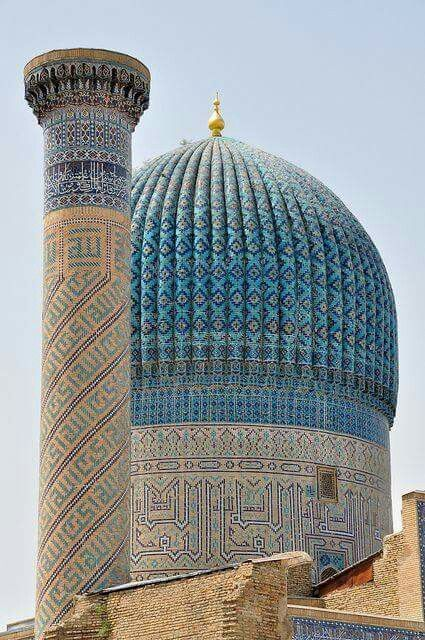 Dome & Minaret of Bibi Khanym Mosque in Samarkand, Uzbekistan