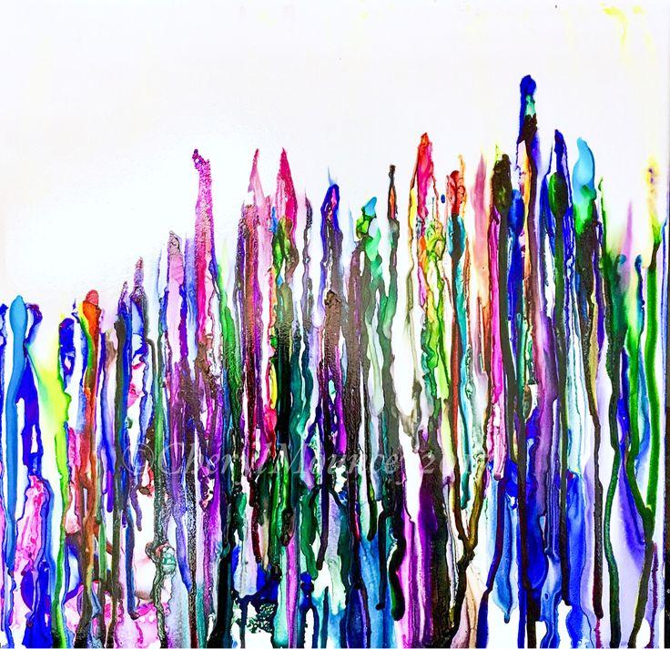 "Rainbow vision  #alcoholink #originalonceramic 12x12"" ©cmouncey2017"