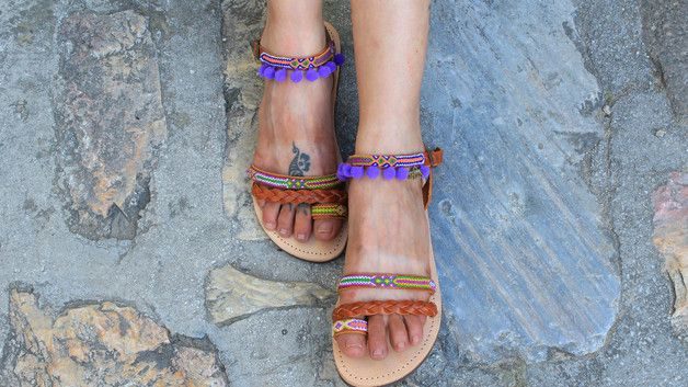Sandals – Greek Boho Leather Sandals, Strappy sandals – a unique product by Oniropolis on DaWanda