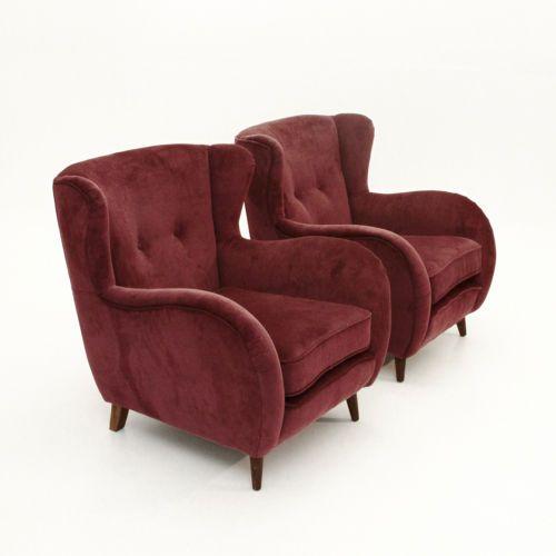 Coppia di Poltrone in velluto anni '50, armchairs, fauteuils, Gio Ponti style. in Arte e antiquariato, Modernariato, Mobili | eBay