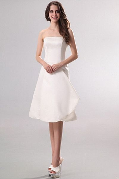 Classic Strapless A-Line Bridesmaids Dress wr2793 - http://www.weddingrobe.co.uk/classic-strapless-a-line-bridesmaids-dress-wr2793.html - NECKLINE: Strapless. FABRIC: Satin. SLEEVE: Sleeveless. COLOR: White. SILHOUETTE: A-Line. - 81.59