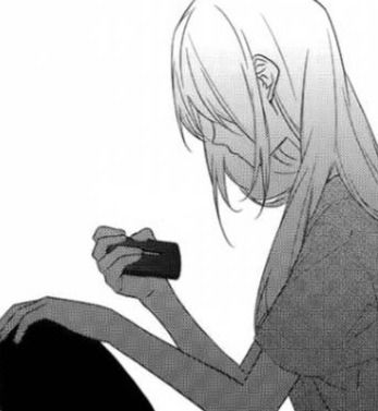 1000 images about anime girls black white on - Anime girl on phone ...