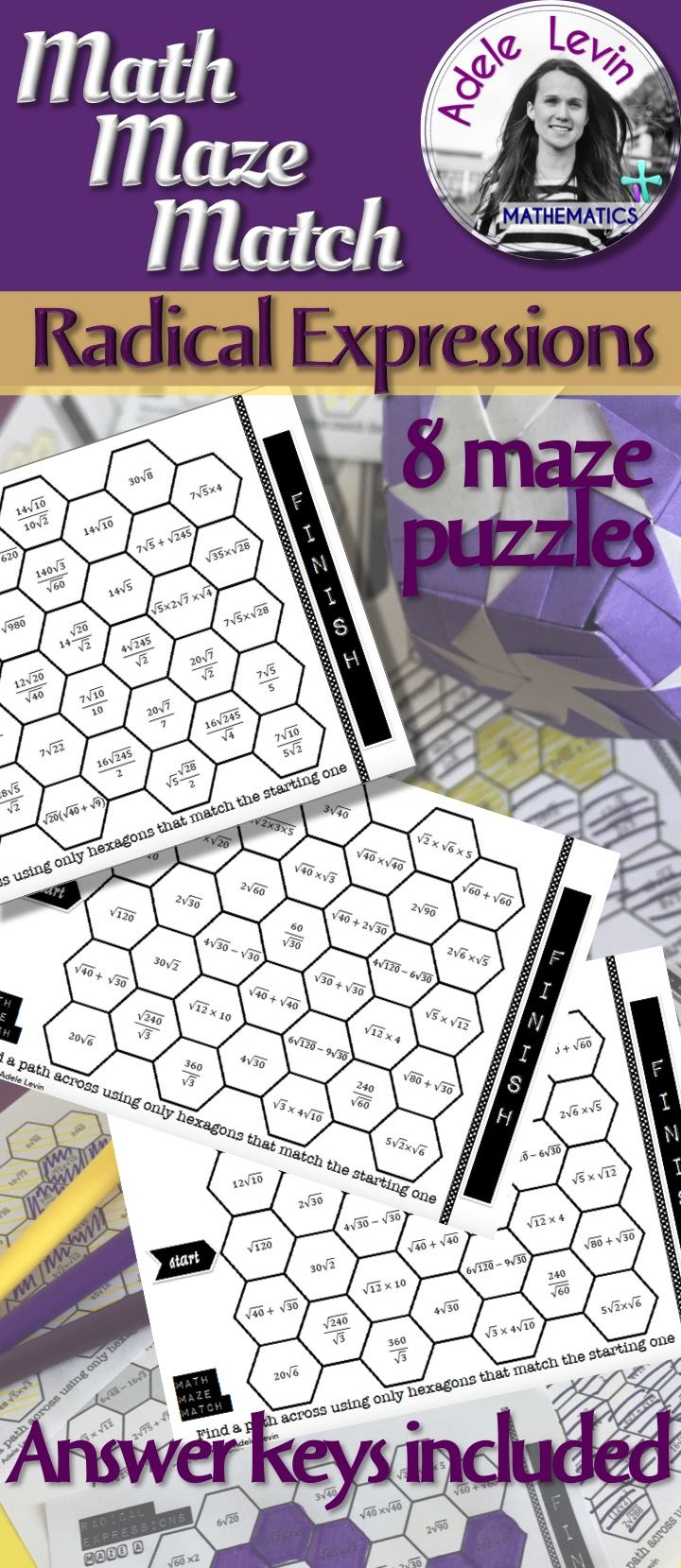 These worksheets are a fun way for students to practise simplifying and manipulating radical expressions. Students will use multiplication, division, addition and subtraction of radicals to find equivalent expressions which form a path across the maze.