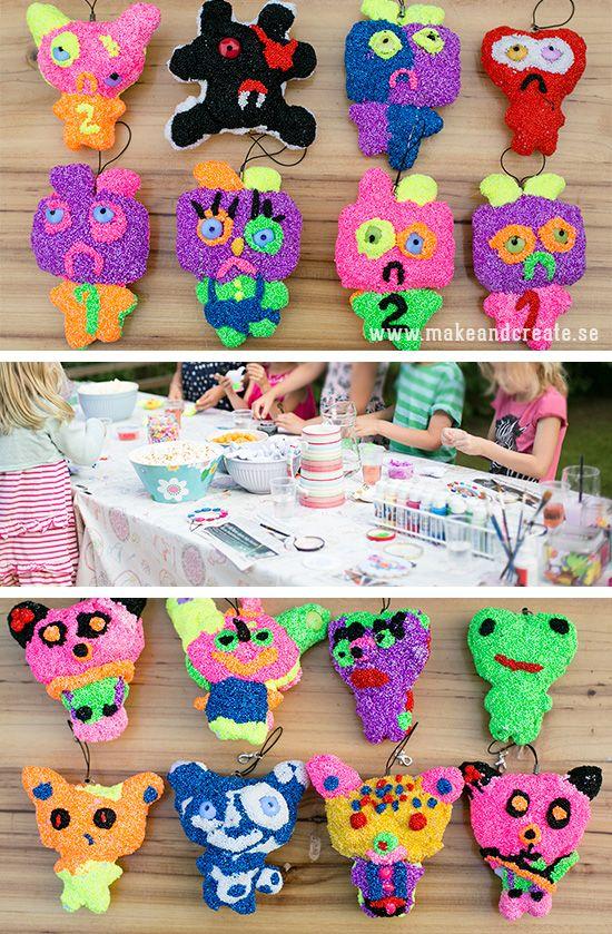 Idéer för pysselkalas, del 1I sommar har vi haft två roliga pysselkalas för våra tjejer som fyllt år. En av aktiviteterna var att täcka tygfigurer med Foam Clay. Det här var det...