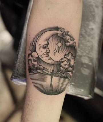 tatuajes de paisajes de noche lago