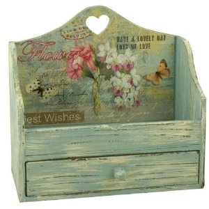Rustic Shabby Chic Wood Heart Letter Rack ~ Vintage Shabby Chic!: Amazon.co.uk: Kitchen & Home