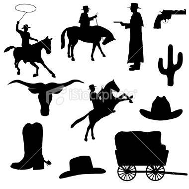 Western Silhouette Collection (vector+jpg) Royalty Free Stock Vector Art Illustration