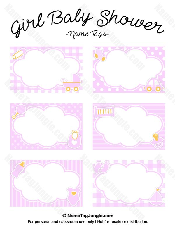 Free printable girl baby shower name tags the template can also be used for creating items like for Printable baby shower tags