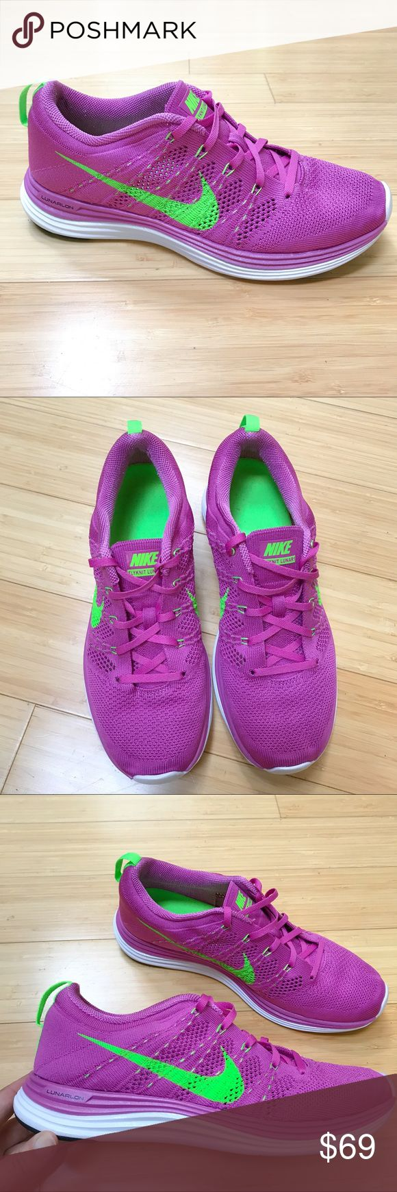 NIKE Flyknit Lunar 1 running sneakers, 9.5. New without box pink and green pair of Nike Flyknit Lunar 1 running sneakers, Lunarlon, size US 9.5. Tried on only, never worn outside, perfect condition. Nike Shoes Sneakers