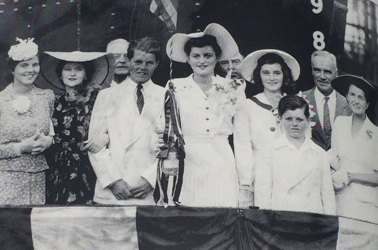 June 29, 1941: The last known formal photo of Rosemary (far left) before her lobotomy. Bobby, Pat, Jean, Teddy, and Rose are all dressed in white for the launching of the USS President Polk.