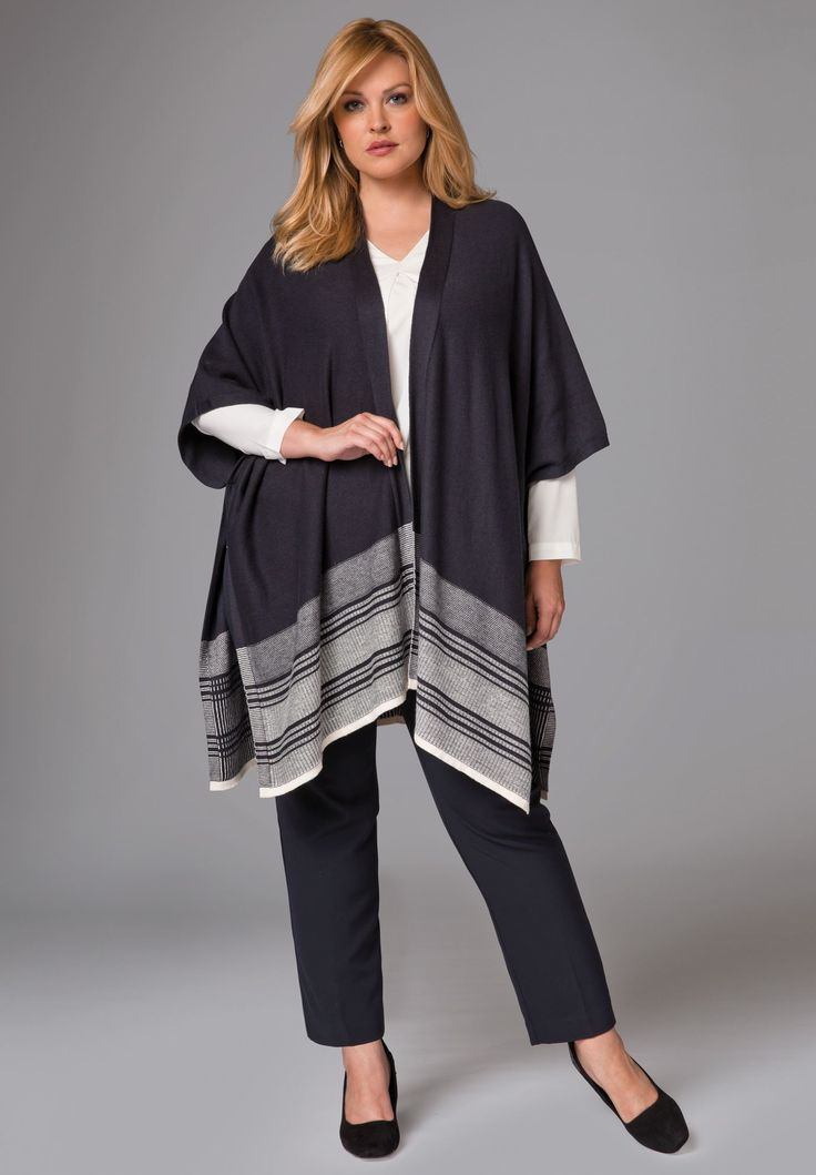 "This versatile and soft poncho adds a layer of style to any outfit. Wear over jeans or leggings for a flawless, fall look!   in a relaxed fit offering you the ideal partnership of comfort and style  34"" long at longest point  rib trim and patterned hem border  side seams are tacked to create armholes  cotton/cashmere  machine wash; imported   Cotton cashmere poncho available in size 12/16, 18/24, 26/32 Fit and Fashion Notes: This poncho sweater is chic..."