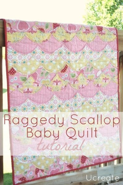 Reggedy Scallop Quilt Tutorial - so cute!Sewing, Quilt Ideas, Reggedi Scallops, Baby Quilts, Scallops Quilt, Scallops Baby, Quilt Tutorials, Raggedy Scallops, Quilt Pattern