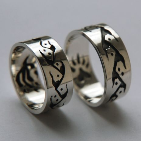 #Anishinaabe #Midewiwin Life Road wedding rings VISUAL PERCEPTIONS OF POWER. http://www.fisherstarcreations.com/silver-wedding-rings-visual-perceptions-of-power