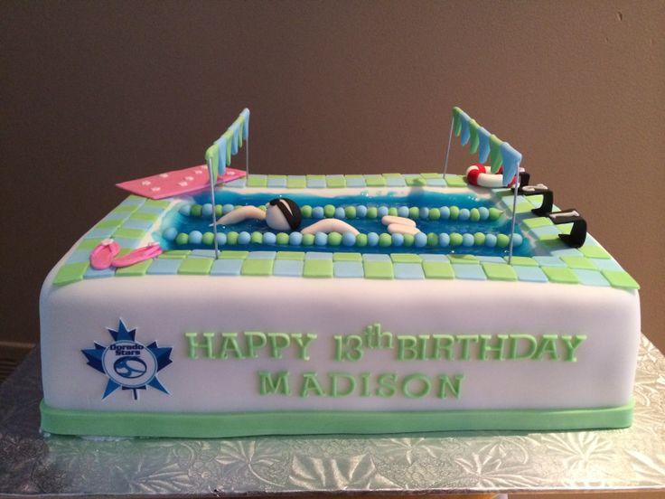 Competitive swimming birthday cake edible bliss cakes pinterest swim birthday cakes and for Swimming pool birthday cake pictures