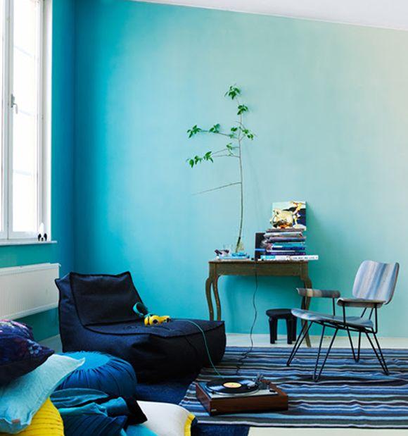 Ombre effect op de muur Via kleurinspiratie.nl