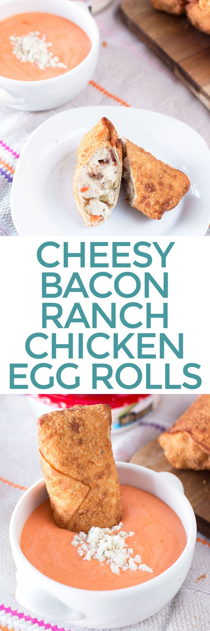 Cheesy Bacon Ranch Chicken Egg Rolls with Creamy Buffalo Dipping Sauce – Cake 'n Knife