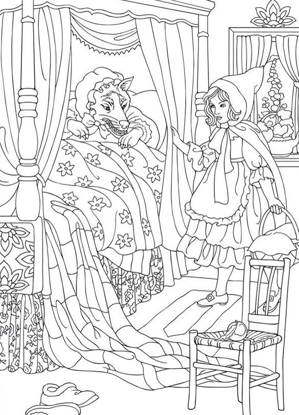 Colouring sheet for young children and parents alike. Little Red Riding Hood, classic fairytale, elegantly depicted by Walter Crane, golden age illustrator. Printable's to keep preschoolers and young kids entertained.