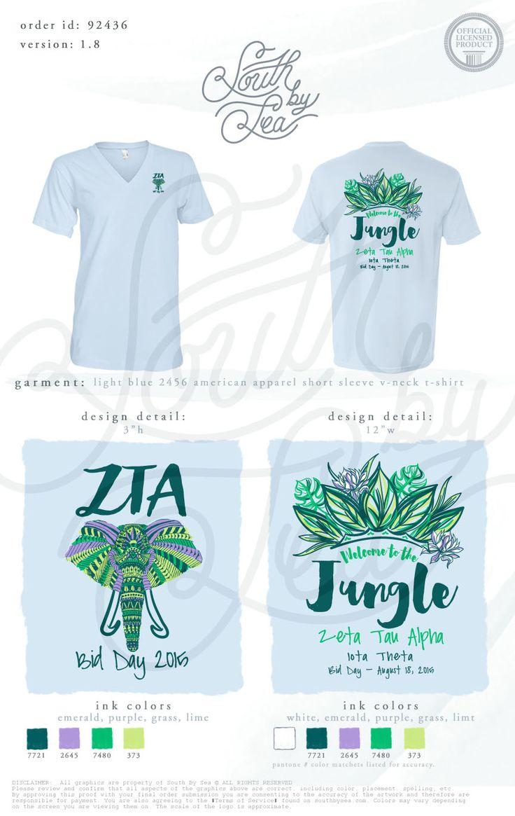 Zeta Tau Alpha | ZTA | Welcome to the Jungle | Bid Day Shirts | Bid Day Designs | Sorority Tee Shirt Inspiration | South by Sea | Sorority Shirts | Sorority Tanks | Greek Shirts