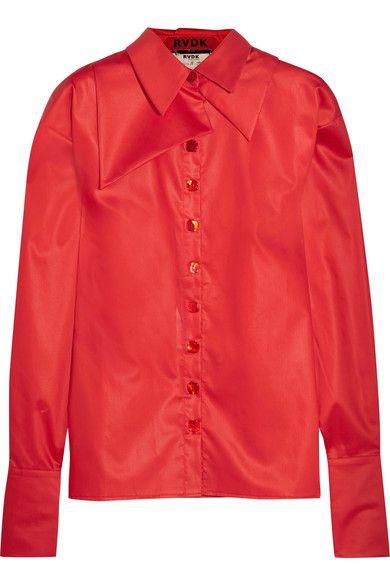 Red cotton-sateen, leopard-print silk Button fastenings through front 100% cotton; trim: 100% silk Dry clean
