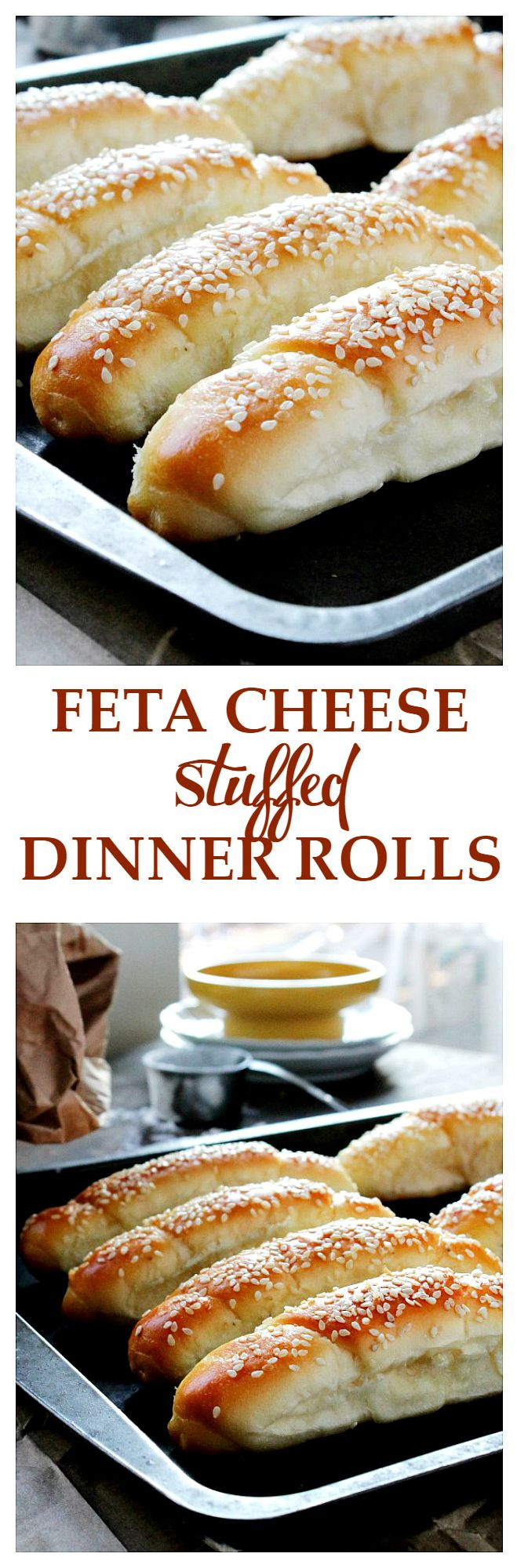 Feta Cheese Stuffed Dinner Rolls - Soft, tender, delicious dinner rolls stuffed with feta cheese. They are irresistible!!
