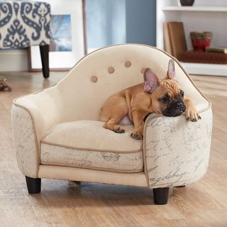 Ultra Plush French White Headboard Furniture Pet Bed | Overstock.com Shopping - The Best Prices on Enchanted Home Pet Pet Sofas & Furniture