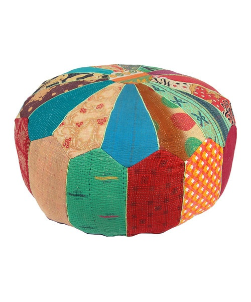 Rejuvenate décor with a splash of patchwork design and vivid color. Crafted from a unique blend of vintage embroidered fabric, each pouf is different from the next and offers a soft spot to rest on while adding an element of bohemian flair to any room.Note:This one-of-a-kind item is made from vintage fabric and may appear in colors or patterns other than shown.24' 'W x 12'' H x 24'' HVintage cotton embroidered fabricSpot cleanImported