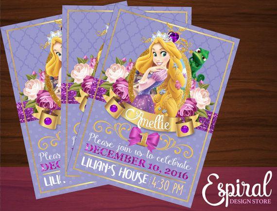 Rapunzel Invitación Imprimible por EspiralInvitations en Etsy