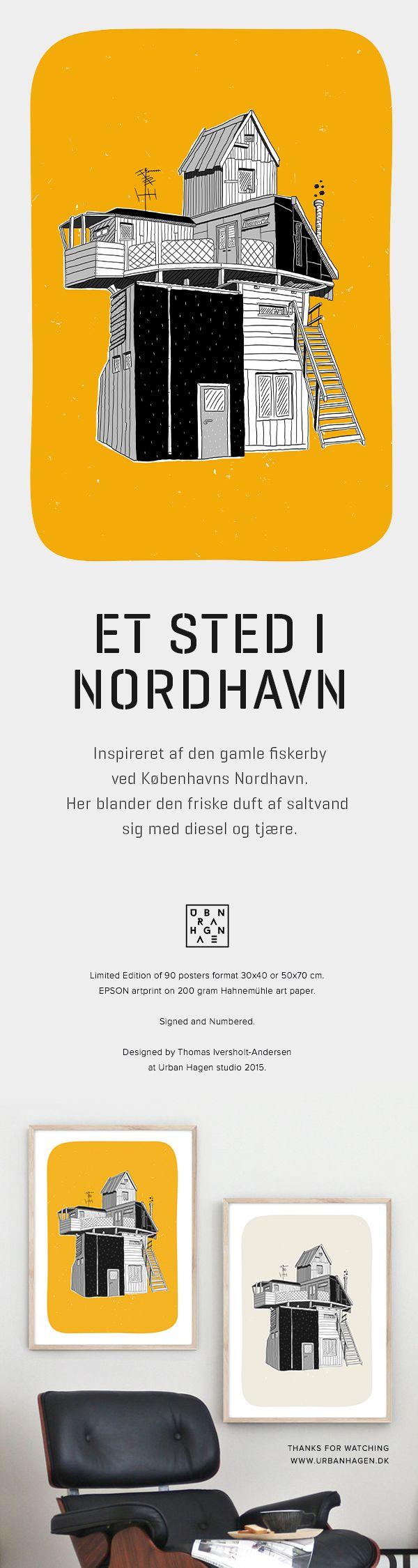 Et sted i Nordhavn plakat i to skønne farver. Inspireret af den gamle fiskerby ved Københavns Nordhavn. Her blander den friske duft af saltvand sig med diesel og tjære Humørikonet smile