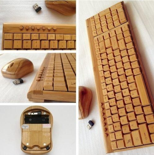 CLEWGEAR Handcrafted Natural Bamboo Wooden PC Wireless 2.4GHz Keyboard and Mouse Combo  Free CLEWGEAR Touch Pen
