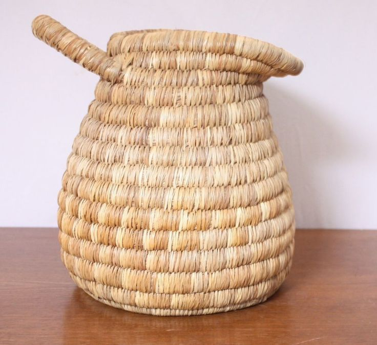 Hand Woven Straw Heavy Pitcher Style Basket 11 5 Height Rustic Home Decor